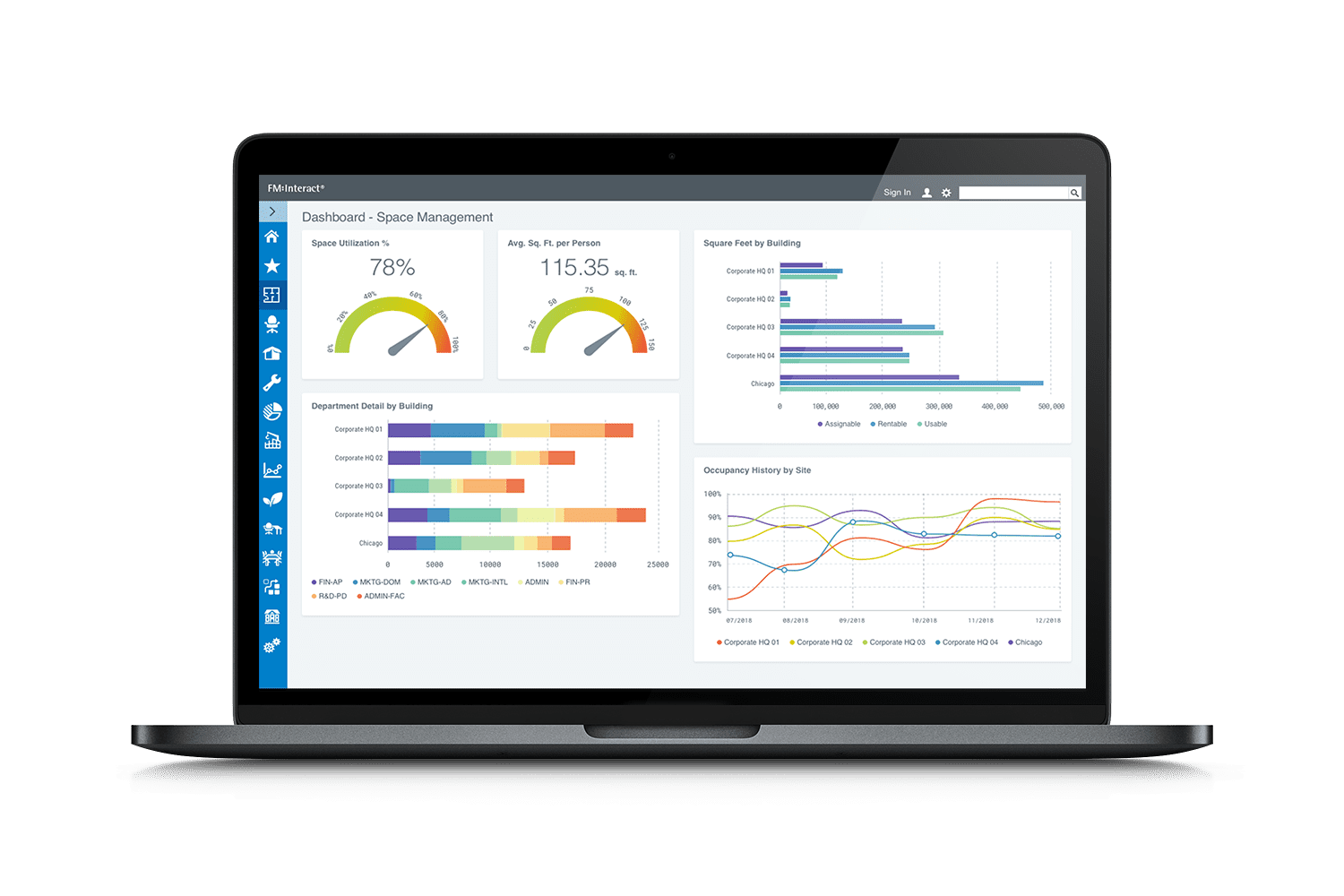new dashboard mockup - IWMS for Alternative Workspaces